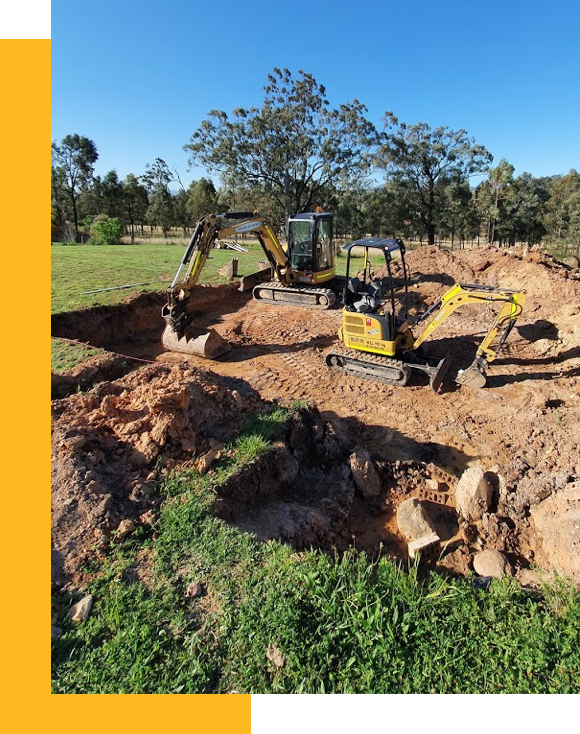 Excavation equipment to prepare footing for new building works